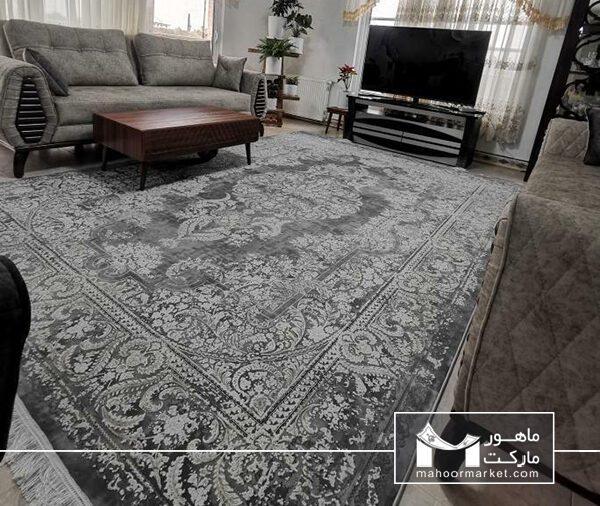 مدل فرش فانتزی فرش الیا ، فرش مدرن طوسی